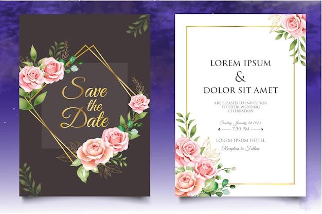 Набор цветочных шаблонов свадебного приглашения с красивыми цветами и листьями
