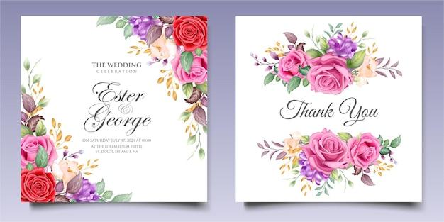 아름 다운 꽃과 잎과 꽃 결혼식 초대장 서식 파일의 설정