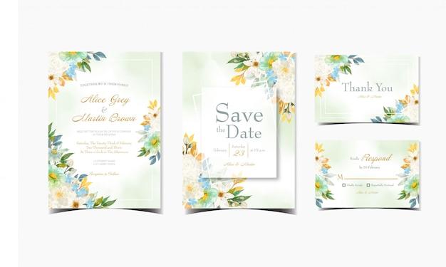 Набор цветочного свадебного приглашения с великолепными яркими цветами