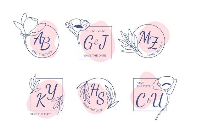 花の結婚式のロゴと招待状のエレガントな葉を持つモノグラムのセットは、日付カードのデザインを保存します。植物イラスト