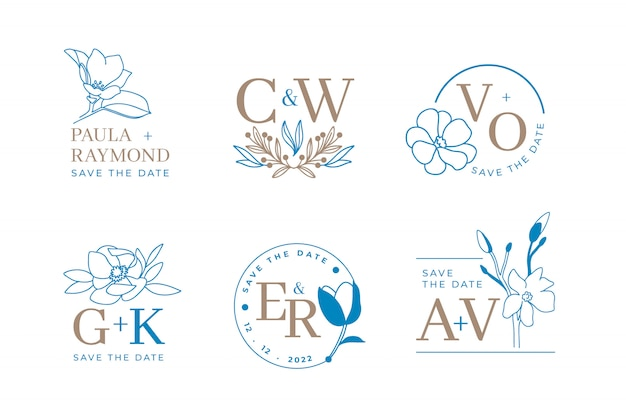 초대에 대 한 우아한 잎 꽃 웨딩 로고와 모노 그램의 집합 날짜 카드 디자인을 저장합니다. 식물 그림