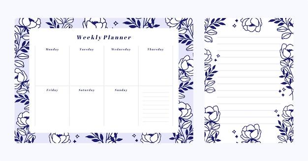 꽃 주간 플래너 세트 및 할 일 목록 메모장 템플릿