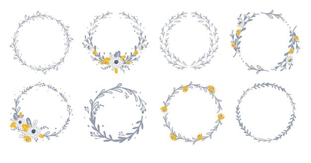 花と葉のイラストと花の花輪のセット
