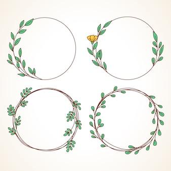 잎과 열매와 꽃 화환 세트 결혼식 초대장 및 인사말 카드 라운드 프레임