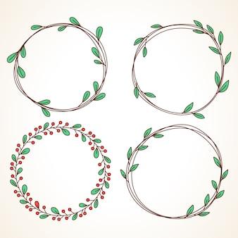 葉とベリーのラウンドフレームと花の花輪のセット結婚式の招待状やグリーティングカード用
