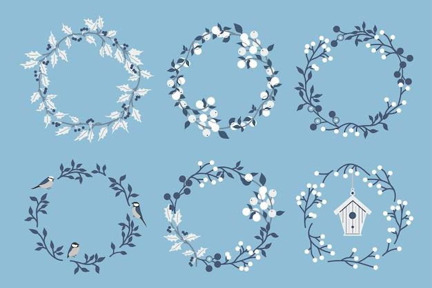 花の花輪のイラストのセットです。