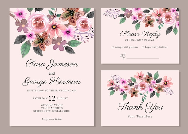Набор цветов акварель свадебное приглашение
