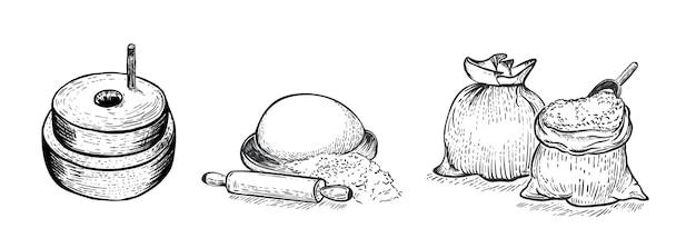 小麦粉イラストのセット