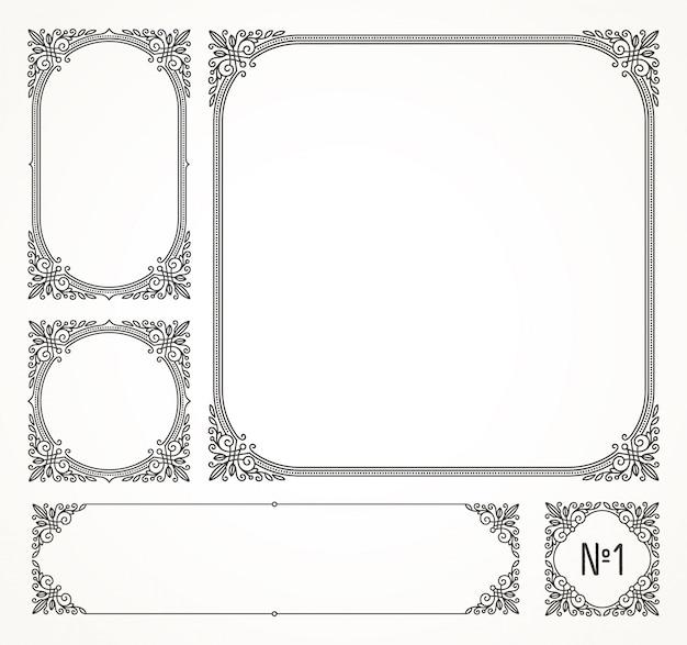 活気づく書道のエレガントな装飾用のフレームと枠線-イラストのセットです。