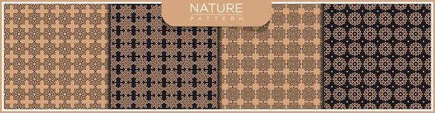 花の抽象的なベクトルのシームレスなラインパターンのセットです。アラビア語の装飾品で金と黒の背景。