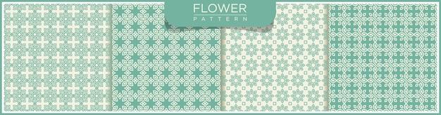 花の抽象的なベクトルのシームレスなラインパターンのセットです。アラビア語の装飾品で白と緑の背景。
