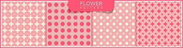 花の抽象的なベクトルのシームレスなラインパターンのセットです。アラビア語の装飾品で白とピンクの背景。