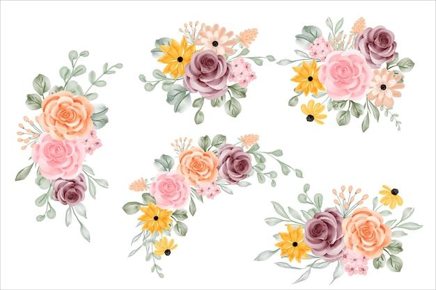 Набор цветочных композиций, букет с розой и листьями