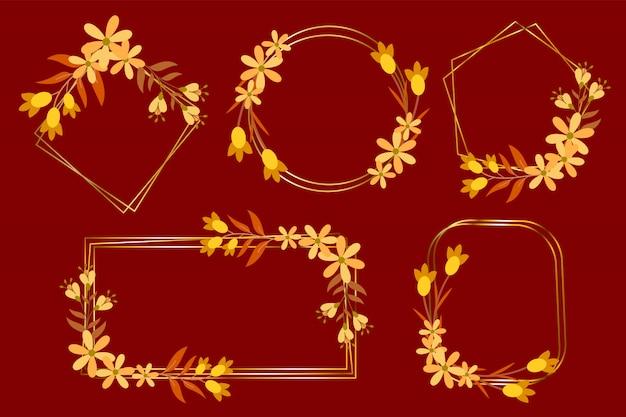 結婚式の招待状、モノグラムのロゴ、ブランドのロゴのフラワーフレームゴールドのセット
