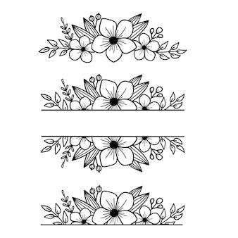 花フレームのセット枝と花とベクトル花フレーム