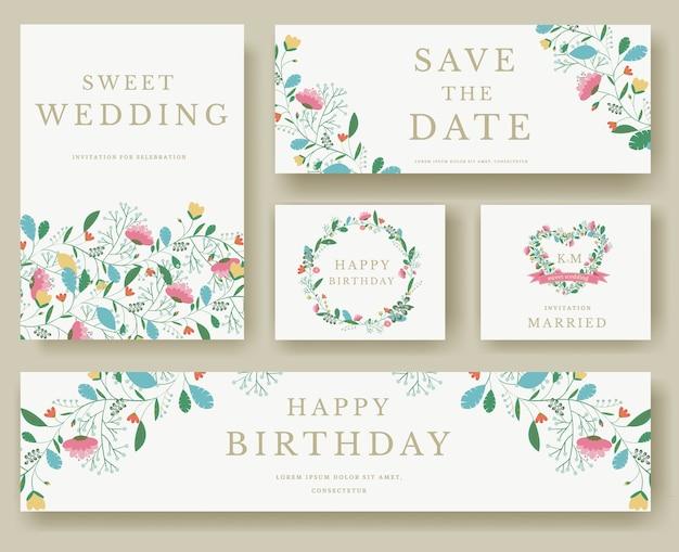 花の招待カードイラストのセット