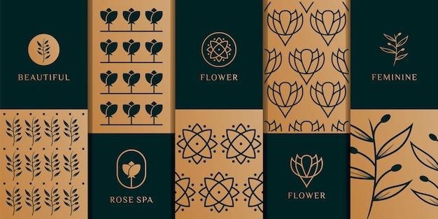 花のロゴとパターンテンプレートのセットです。