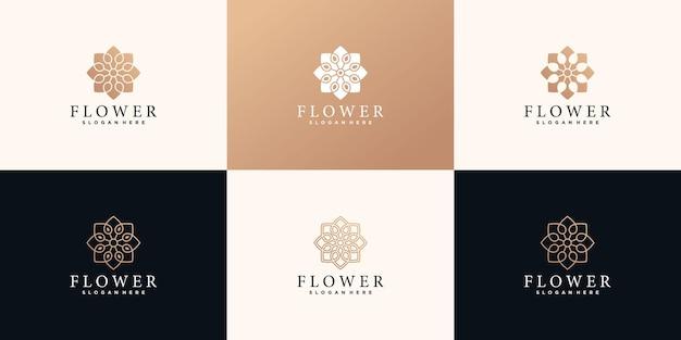 Набор цветочного шаблона дизайна логотипа с концепцией золотого градиента premium vektor