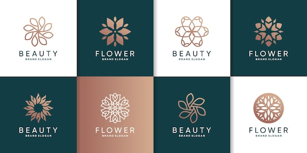 여성 뷰티 스파 웰빙 회사에 대 한 꽃 로고 템플릿 세트 premium vector