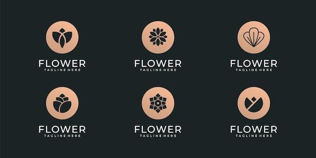 花のロゴのテンプレートのセットです。