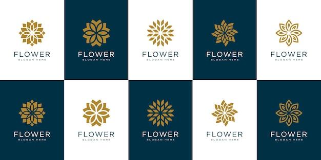 Набор цветочных логотипов векторных шаблонов дизайна