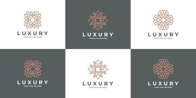 花のセット、蓮の幾何学ロゴ。ロゴは、スパ、美容院、装飾、ブティックに使用できます