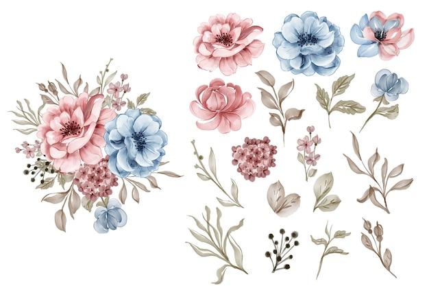 Набор цветов розовый синий и лист изолированных клип-арт
