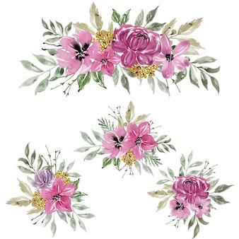 花ピンクの水彩アレンジメントと装飾のセット