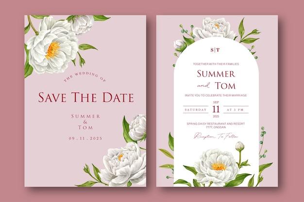 Набор цветочных шаблонов свадебных приглашений