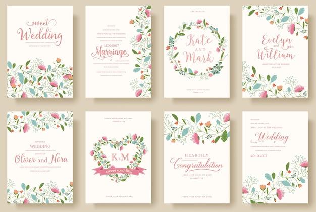 花の結婚式の飾りの概念のセット