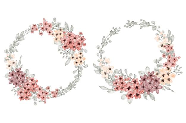 小さな花と葉と花の花輪のセット