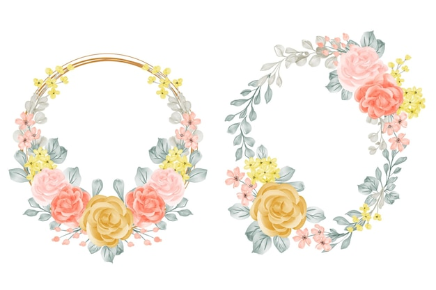 장미와 잎 꽃 화환 세트