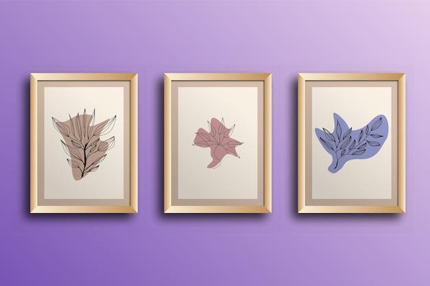 花と葉のセット 連続線画 モダンアート フレーム