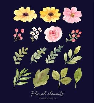 꽃과 잎의 세트