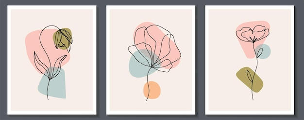 Набор цветов непрерывной линии искусства. аннотация современный коллаж из геометрических фигур в модном современном стиле. вектор для концепции красоты, футболки печати, открытки, плакаты