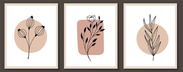 花の連続線画現代アートフレームのセット