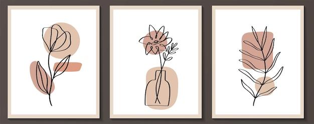 モダンなトレンディなスタイルで抽象的な形の花の連続線画のセット。美容コンセプト、tシャツプリント、ポストカード、ポスターのベクトル