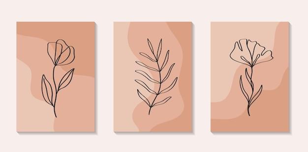 モダンなトレンディなスタイルで抽象的な形の花の連続線画のセット