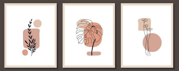 Набор цветов непрерывной линии искусства