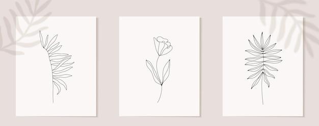 꽃 연속 라인 아트 세트