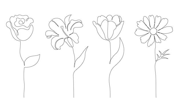 花のセット。 1本の線画スタイル。