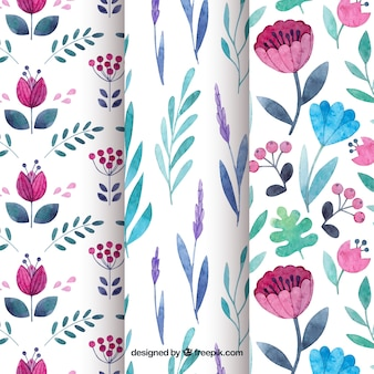 Set of flowers patterns in watercolor style