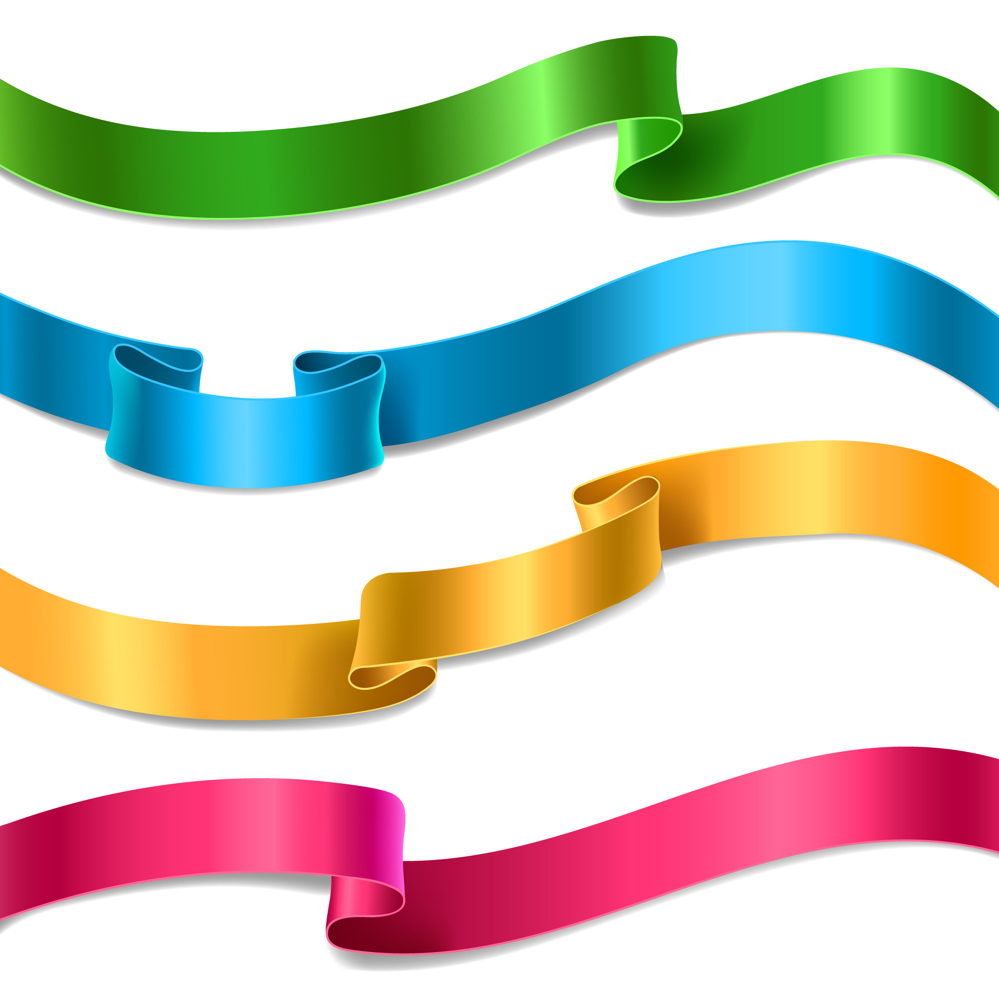 Set of flowing satin or silk ribbons in different colors.