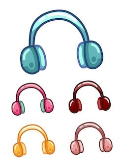 冬のイヤーマフのふわふわの毛皮または音楽を聴くためのスタイリッシュなヘッドフォンのセット