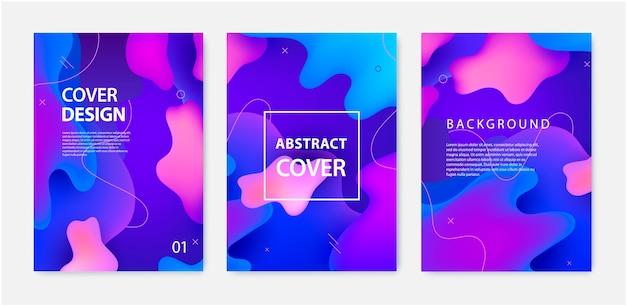 流動的なバナー、カバー、チラシ、パンフレットのセット。動的な3d形状の背景。