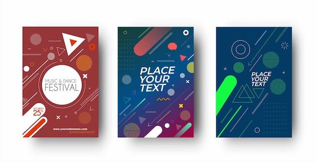 Набор флаера и дизайн обложки плаката в формате a4 шаблон иллюстрации.