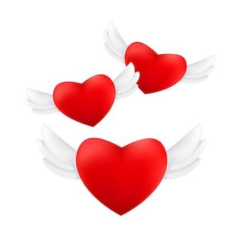 Набор летающих красных сердец с крыльями ангела, изолированные на белом фоне