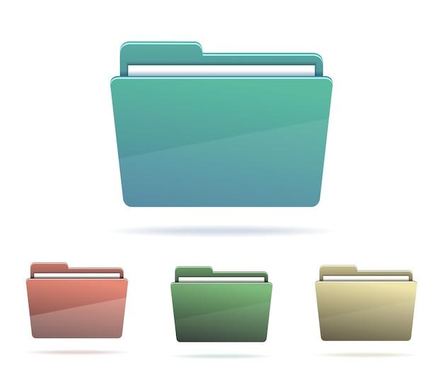 Набор папок с бумагами. векторная иллюстрация.