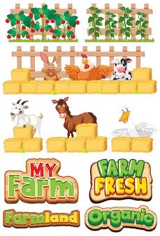 農場と多くの家畜のフォントデザインのセット