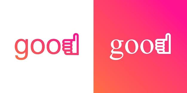 Набор шрифтов хорошо с сочетанием большой палец вверх логотип значок дизайн. как значок. рука нравится. знак одобрения.